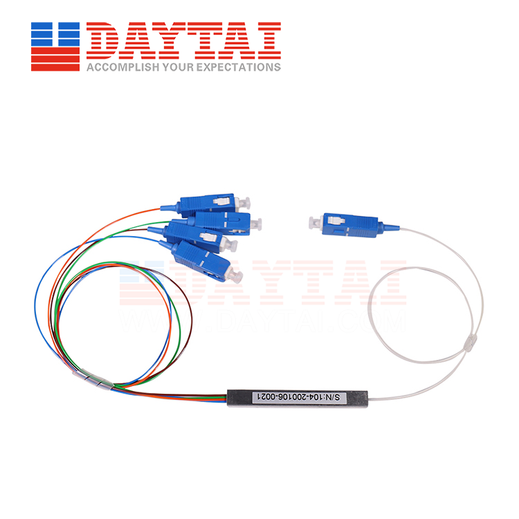 1x4 PLC Splitter-Steel Tube-0.9mm-12 Standard Color-SC/UPC