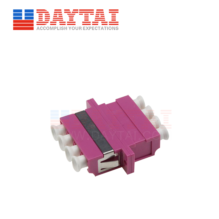 LC-MM-OM4-Quad-Fiber Optic Adapter-With Flange